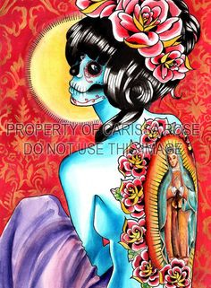 Day of the Dead Sugar Skull Pin Up Girl With Virgin by NeverDieArt, $5.00