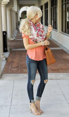 Top: Nordstrom, Cami (underneath): Nordstrom, Scarf: Nordstrom. Jeans: Rag and Bone, Shoes: Zara (old), Bag: Tory Burch, Bracelet: J.Crew, Ring: Express