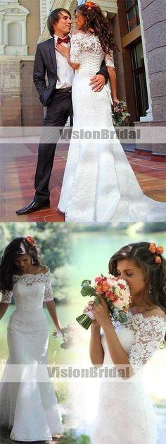 Off Shoulder Lace Half Sleeves Mermaid Wedding Dresses Online, Unique Lace Up Lace Wedding Dresses, VB0963 #weddingdress #weddingdresses