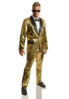 This Gold Disco Ball Tuxedo costume is ready to make you the center of attention out on the dance floor. Gold Jacket, Metallic Jacket, Tuxedo Jacket, Cool Costumes, Adult Costumes, Halloween Costumes, Costumes Kids, Funny Halloween, Halloween Ideas