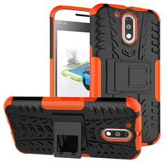 Moto G4 Case,Moto G4 Plus Case,DIOS CASE(TM) Tyre Texture Design Dual Layer Hybrid Hard PC Rubber Full-Body Protective Rugged Impact Resistant Kickstand Cover for Motorola Moto G4 (Orange) -- Click image to review more details.