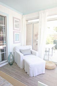 blue ceiling & white walls LOVE....Jenna Sue: Sunroom Reveal!