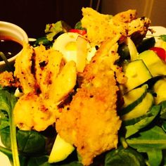 Crispy chicken strips over fresh salad greens with a sweet, tangy berry vinaigrette. A delicious HCG P3 Recipe for the HCG Diet. HCG Recipes for Phase 3.