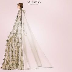Here is the sketch of the wedding dress worn by Tatiana Santo Domingo for his religious marriage in Gstaad. it is a creation of Valentino. ( thank you Michele and Anne P. - Photo copyright: Hola)
