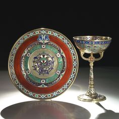 A Russian Gilded Silver and Enamel Sherbet Cup and Stand, Antip Kuzmichev, Moscow, circa 1900
