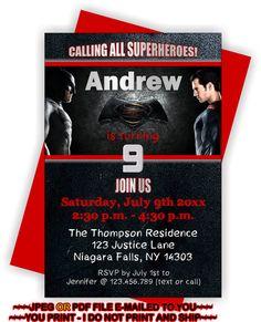YOU PRINT - Batman vs Superman Birthday Invite, Batman vs Superman Invitation…