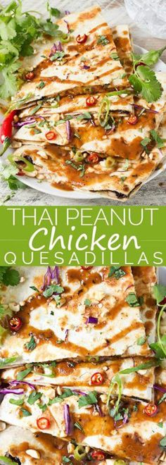 Thai Peanut Chicken Quesadillas - Thai chicken gets a fusion twist in these Thai peanut chicken quesadillas! Loaded with flavor and fun to make, try them tonight! Fusion Food, Tacos, Tostadas, Asian Recipes, Mexican Food Recipes, Turkey Recipes, Chicken Recipes, Thai Peanut Chicken, Thai Chicken Wraps