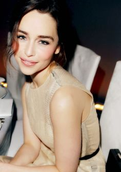 Emilia Clarke. I love her fresh/natural makeup!! And sleek yet messy hair look!