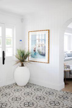 Three Birds x House 11 - Painted Floor Tile Hamptons House, The Hamptons, Hamptons Kitchen, Hamptons Decor, Hallway Ideas Entrance Narrow, Entryway Ideas, Entrance Hall, Entry Hallway, House Entrance