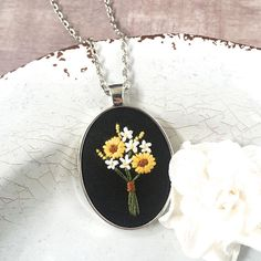 Sunflower Bouquet Pendant. Wildflower Pendant. Hand