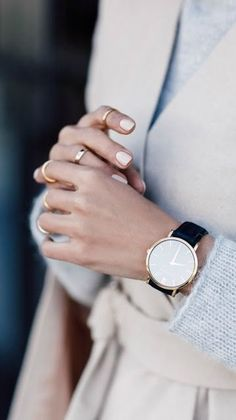 Neutrals + gold. black band watch with gold rim, ideal with pastel nails and knits