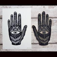 Hand symbol print hamsa hand print evil eye art black and white art black and white wall decor Bohemiem decor symbolic rlhibbs prints Linocut Prints, Art Prints, Hand Kunst, Evil Eye Art, White Art, Black And White, Hand Symbols, Eyes Artwork, Stamp Carving