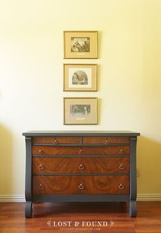 Ash Dresser Makeover | Two-toned piece with base painted in Fusion Mineral Paint Ash. Glam and Gorgeous!