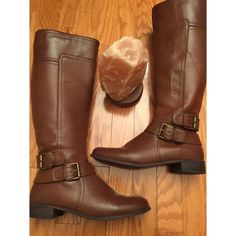 Nine West cognac riding boots Worn once. Excellent condition. Perfect for winter or spring or fall Nine West Shoes Winter & Rain Boots