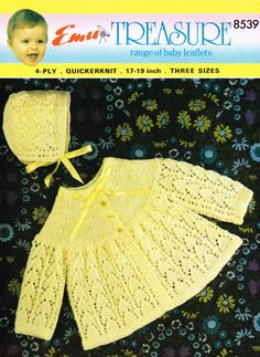 eBook - Vintage knitting pattern - matinee coat and bonnet knitting pattern - 4 ply vintage knitting pattern - vintage coat/bonnet pattern