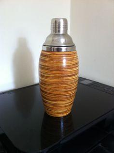 Wood veneer based shaker, circa 1950s 25 cm x 10 cm [in box]