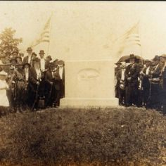 Photograph of dedication of USS Sultana monument in Knoxville's Mount Olive Baptist Church burial ground on July 4, 1916, on the occasion of the 3rd U.S. Cavalry reunion
