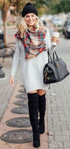cute fall outfit idea : plaid scarf + sweater dress + bag + over  the knee boots
