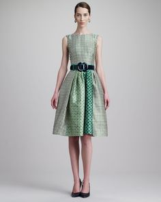Oscar de la Renta Check-Print Jewel-Neck Dress & Wide Patent Leather Two-Tone Belt - Neiman Marcus