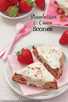 "Strawberries and Cream Scones - ""With both chopped strawberries and a strawberry purée...soft tender and moist with a sweet vanilla glaze""...sounds incredible!  - Cinnamon Spice & Everything Nice"