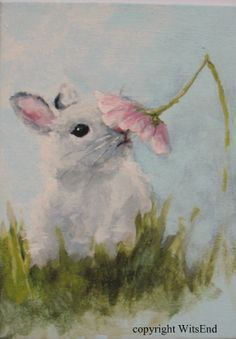 """Daisy Bunny"", original on canvas panel. SOLD"