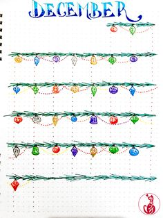 #December monthly layout for a bullet journal - featuring #Christmas #ornaments! #bujo #bulletjournal #montlylayout #bujoinspire #bulletjournalideas