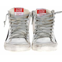 Golden Goose Vintage Off-White High Sneakers In Used Look (9.970 UYU) ❤ liked on Polyvore featuring shoes, sneakers, women, golden goose shoes, high top shoes, high top leather shoes, hi tops and vintage shoes