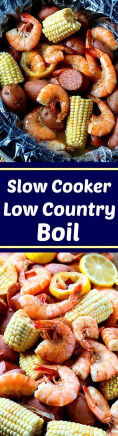Slow Cooker Low Country Boil- shrimp, sausage, red potatoes, corn, and lots of spice! Definitely making this!