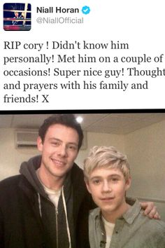 Waking up to this was devastating and honestly I cant stop crying. I watched glee all the time and now..i cant even say it but it so frustrating and heartbraking. I cant do anything. Tell everyone you love them right now. The boys, your friends and family. Forget about the follows and concerts and just be thankful that our idols are still alive