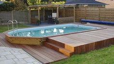 The above ground wooden pool - 50 models - Archzine. Oberirdischer Pool, Diy Pool, Swimming Pools Backyard, Pool Landscaping, Above Ground Pool Decks, In Ground Pools, Piscina Pallet, Pool Landscape Design, Landscape Model