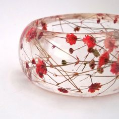 Red Resin Bangle. Chunky Bangle with Pressed Flowers. By SpottedDogAsheville / Etsy