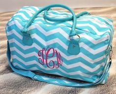 Monogrammed Chevron Weekender Bag by shopmemento on Etsy, $35.00