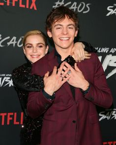HOLLYWOOD, CA - OCTOBER Kiernan Shipka and Ross Lynch attend the premiere of Netflix's 'Chilling Adventures of Sabrina' at Hollywood Athletic Club on October 2018 in Hollywood, California. (Photo by JB Lacroix/WireImage) Harvey Sabrina, Sabrina Cast, Archie Comics, Ross Lynch, Series Movies, Tv Series, Kiernan Shipka, Bae, Sabrina Spellman