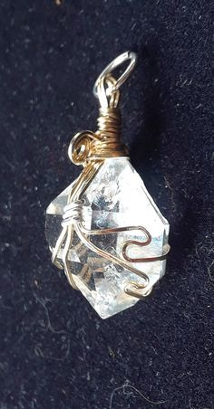 Herkimer Diamond Quartz Crystal Wire Wrap Wrapped Pendant GF wires and Sterling Silver wire Crystal Pendant, Crystal Jewelry, Crystal Necklace, Quartz Crystal, Diamond Quartz, Herkimer Diamond, Loc Jewelry, Wire Jewelry, Rock Tumbling
