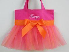 Girls Dance Bag Hot Pink Tote Bag ballet bag dance by naptime21