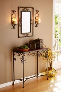 Varieties of Wrought Iron Doors for Your Properties - Decor And Home Iron Furniture, Steel Furniture, Console Furniture, Wrought Iron Decor, Wrought Iron Console Table, Tuscan Decorating, Iron Doors, Deco Table, Metal Wall Decor