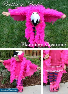 Use a hoodie to make a flamingo costume. So easy!