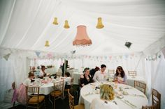 Hanging lampshades to decorate marquee! - Rock and Roll Bride