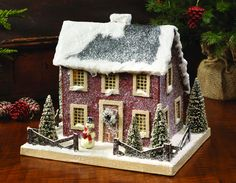Colonial Salt Box Putz House - Red from The Holiday Barn