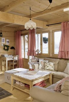 Rustic chalet www. Cottage Living, Cozy Living Rooms, Cottage Homes, Cottage Design, House Design, Houses In Poland, Home Interior, Interior Design, Sweet Home