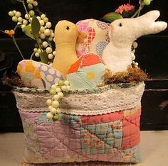 PRIMITIVE Easter Spring Bunny Quilt POCKET made from ANTIQUE Patchwork QUILT