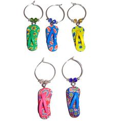 Flip Flop Wine Charms Set of 5 by CloudNineDesignz on Etsy