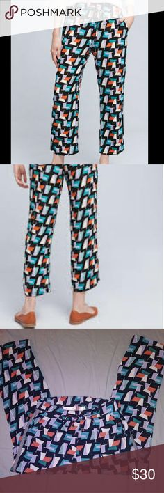 Anthropologie Hei Hei Ginza Pants Size Small Brand: Hei Hei by Anthropologie Size: Small  Description: Drawstring jogger style pants with a geometric pattern in flawless condition.  Material: 100% viscose Condition: EUC --no visible flaws!! Anthropologie Pants