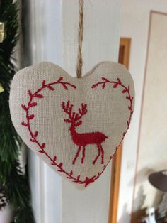 3 x Décorations de Noël Renne Shabby Chic Rustique En Bois Véritable COEUR BLEU BOWS