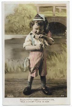 Edwardian Little Boy Smoking Pipe, Antique Children real photo postcard, tinted French postcard, Curly Hair Child with Cap, RPPC by maralecollectibles on Etsy Antique Art, Vintage Antiques, Photo Postcards, Vintage Colors, Belle Epoque, Vintage Photographs, Little Boys, Sketching, Curly Hair
