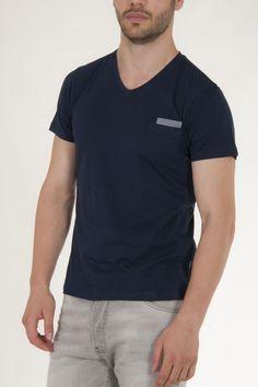 Μπλουζάκι κοντομάνικο μπλε σκούρο με τσεπάκι στο πλάι μπροστά αντρικό sorbino