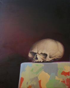 "Saatchi Online Artist Simon Cain-O'Grady; Painting, ""The ambassador (uk skull)"" #art"