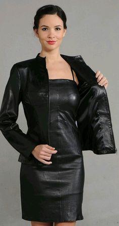 Black leather dress and jacket ensemble