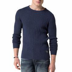 Pull Tommy Hilfiger homme modèle Gilles en coton bleu marine