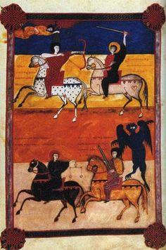 Fig. 4-13 The Four Horsemen of the Apocalypse from the Beatus of Fernando and Sancha, A.D. 1047.